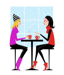Two Girlfriends Drinking Coffee or Hot Chocolate