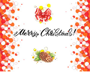 Merry Christmas lettering with bow and cone