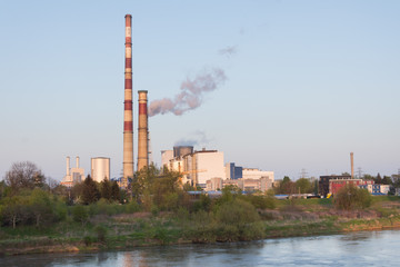 heat and power plant river chimneys 05