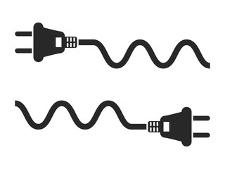 Electric plug and cord icon set, black isolated on white background, vector illustration.