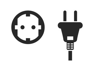 Electrical outlet icon set, electric plug and power socket, black isolated on white background, vector illustration.