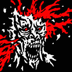 Exploded zombie head with splashes of blood and skull splinters. Vector illustration.