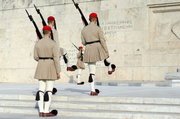 Presidential guard Greece Syntagma.Tsarouhi is a type of shoe, which is typically known as part of the traditional uniform by the Greek guards