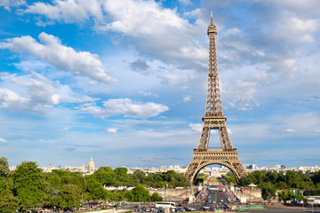 The Eiffel Tower in Paris on a  summer day