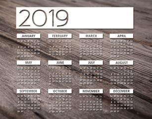 2019 english calendar wood background