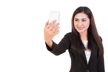 Portrait of  asian business women selfie isolated on white background . Free from copy space.