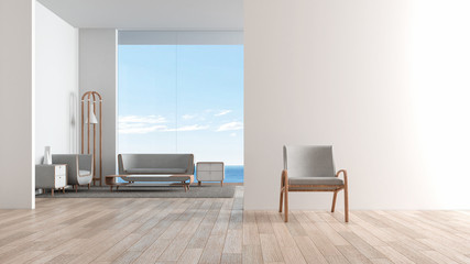 Modern interior living room wood floor with sofa set. chair in front of living room. sea view summer 3d rendering
