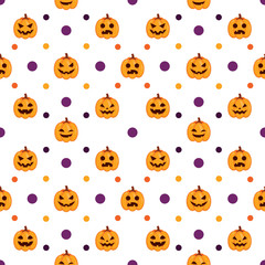 Seamless Halloween Pattern with orange pumpkins on white background