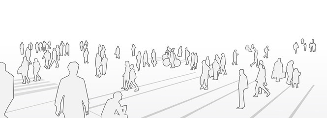 Illustration of people walking on the street in perspective