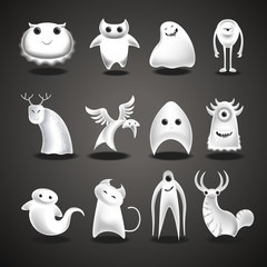 Ghosts and monsters cartoon funny evil Halloween charcter vector isolated icons