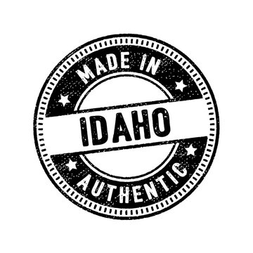 made in idaho authentic circle rubber stamp icon