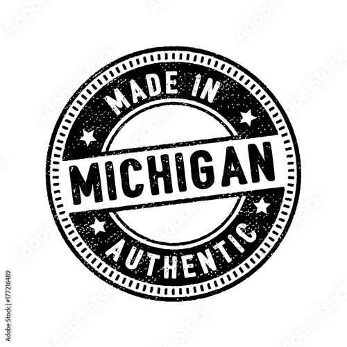 Made In Michigan >> Made In Michigan Authentic Circle Rubber Stamp Icon Stock
