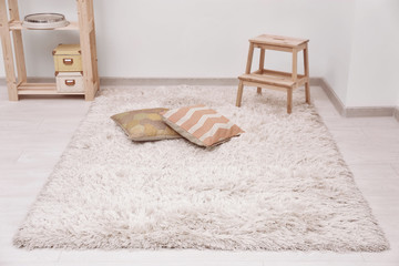 White soft carpet on floor indoors