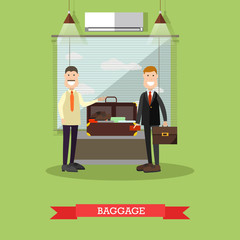 Airport baggage check vector illustration in flat style.