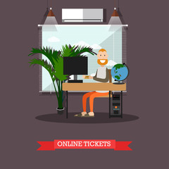 Online flight booking vector illustration in flat style