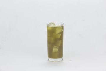 Cool green tea in clear glass. Healthy drink