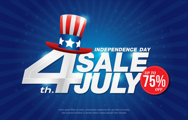 4th july happy independence day sale banner template design with american hat on blue back ground