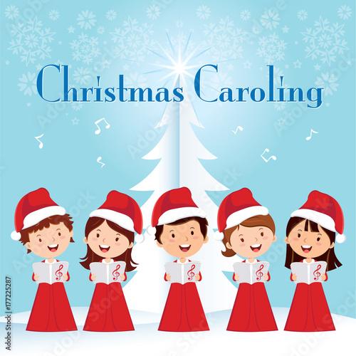 Christmas Caroling Images.Children Christmas Caroling Children Choir Singing Stock Photo