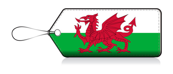 Wales flag leble, Label of product made in Wales, UK member