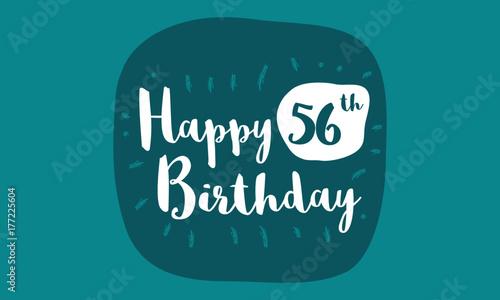 Happy 56th Birthday Card Brush Lettering Vector Design