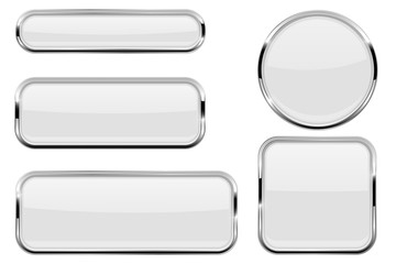 White glass buttons with chrome frame