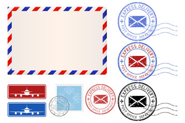 Postal elements. Envelope, stamps, Express delivery postmarks