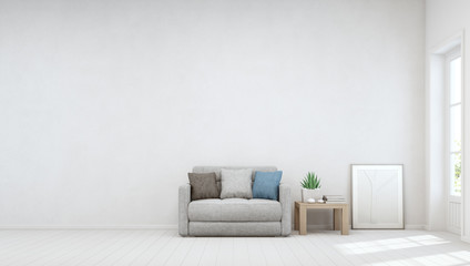 Indoor plant on wooden coffee table and small sofa with empty white concrete wall background, Relaxing area near door in bright living room of modern scandinavian house - Home interior 3d illustration