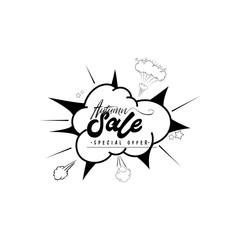 Sale web banner. Pop art comic sale discount promotion label.