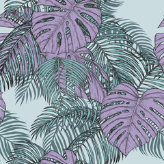 Areca palm and monstera sketch by hand drawing.Plam leaf vector pattern on vintage background.Vector leaves art highly detailed in line art style.Tropical seamless for wallpaper.