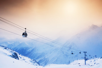 Ski slope and cable car on the ski resort Elbrus. Wall mural