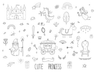 Cute cartoon princess collection . Doodle fairytale set for kids. Hand drawn vector illustration isolated on white.