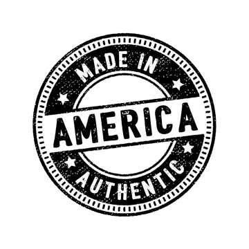 made in america authentic circle rubber stamp icon