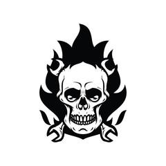 Skull ghost rider road vector illustration