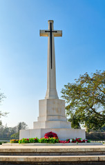 Cross of Sacrifice memorial at the Heliopolis Commonwealth War Cemetery, Cairo, Egypt. the cemetery contains 1742 burials of the Second World War and opened in October 1941
