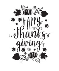 Happy Thanksgiving lettering.