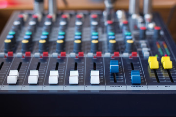 Background of sound mixer control panel /