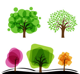 Set of abstract trees. Trees with circles and squares. Vector illustration of  garden with fruit abstract  trees.