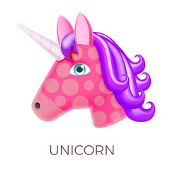 Unicorn Realistic Vector Icon