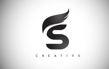 S Letter Wings Logo Design with Black Bird Fly Wing Icon.