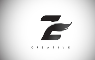 Z Letter Wings Logo Design with Black Bird Fly Wing Icon.