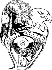 Wall Mural - vtwin indians