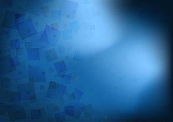 Abstract transparent blue squares overlap on dark background with light, Vector illustration.