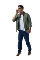 Man shouting on white background