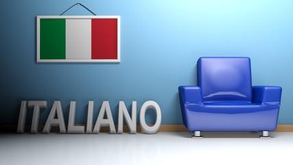Room of italian language - 3D rendering