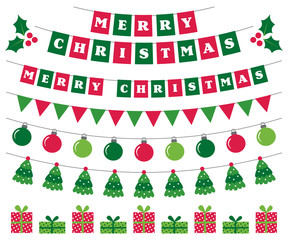 Merry Christmas banners and holiday decoration set
