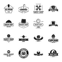 Bakery sweets logo icons set, simple style