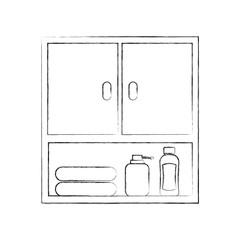 bathroom modular furniture towels other accessories vector illustration
