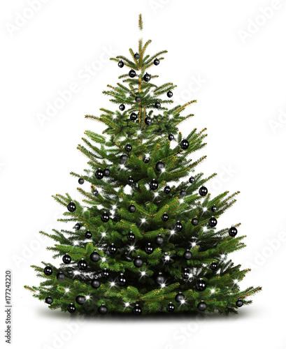 Schwarzer Weihnachtsbaum.Weihnachtsbaum Mit Schwarzen Kugeln Stockfotos Und