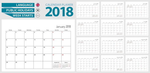 Wall calendar planner for 2018. English language, week starts from Monday.