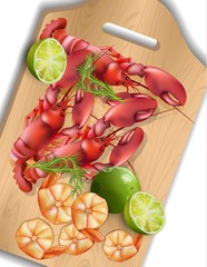 Shrimps and lime on wooden tray. Realistic Vector seafoods
